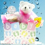 Baby Girl Teddy Bear Cookie Bouquet- 6 or 12 Gourmet Cookies