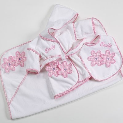 3-Piece Bath & Bib Personalized Baby Gift Set-Daisies
