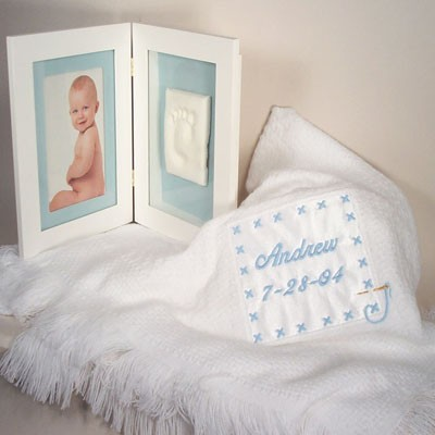 Baby Blanket & Keepsake Frame Personalized Baby Boy Gift