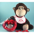 Giant Plush Monkey Valentine's Day Baby Gift Set