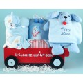 """""""Puppy Love"""" Deluxe Welcome Wagon Baby Boy Gift"""