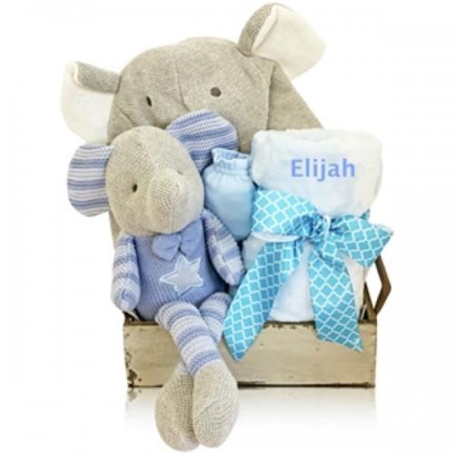 A Beautiful Bouncing Boy Elephant Gift Basket