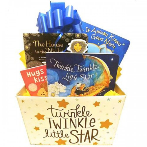 Baby Gift Basket with Restful Board Books for Good Nights