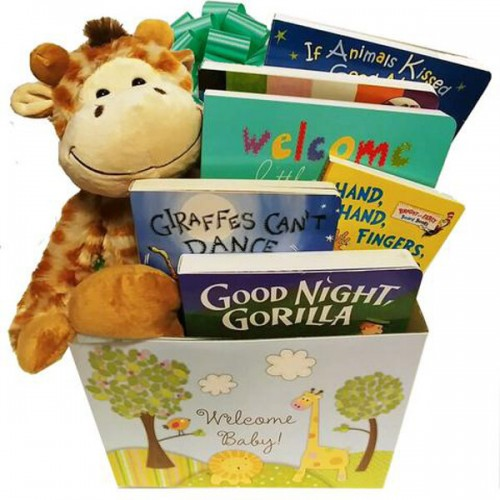 Wild for Baby Books Gift Basket with