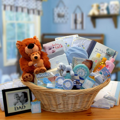 Deluxe Welcome Home Precious Baby Basket-Blue - Large - Blue