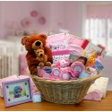 Deluxe Welcome Home Precious Baby Basket-Pink - Large - Pink