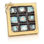 New Baby Boy Chocolate Dipped Mini Crispy Rice Bars- Window Gift Box of 9