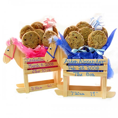 Baby Boy - Girl Rocking Horse Cookie Bouquet - 6 or 12 Cookies