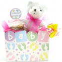 Baby Girl Teddy Bear Cookie Bouquet- 6 or 12 Gourmet Cookies
